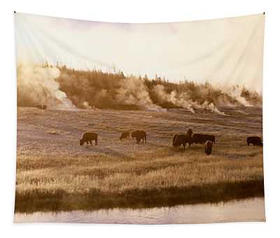 Bison Firehole River Yellowstone Tapestry