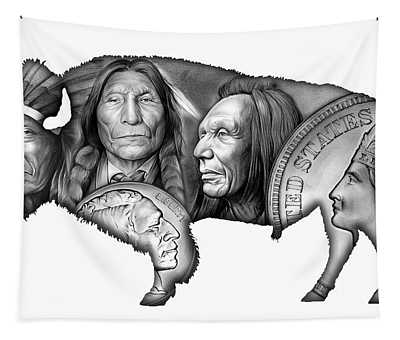 Bison Indian Montage 2 Tapestry