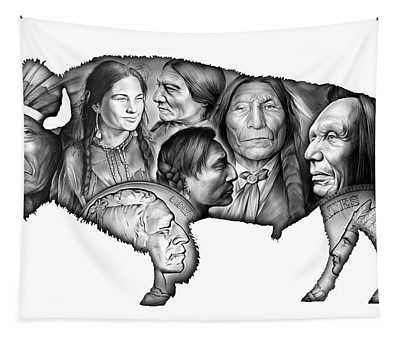 Bison Indian Montage Tapestry