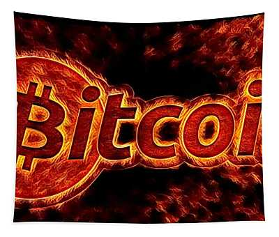 Bitcoin On Fire Tapestry