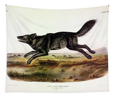 Black American Wolf Tapestry