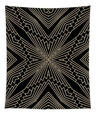 Black And Gold Art Deco Filigree 003 Tapestry