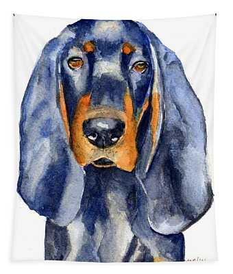 Black And Tan Coonhound Dog Tapestry