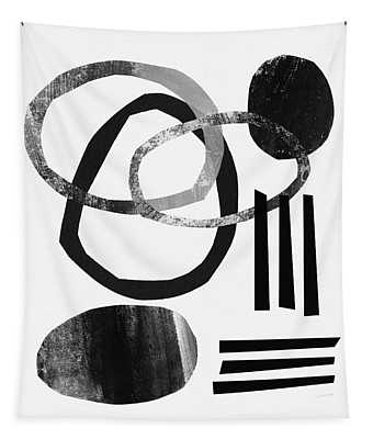 Black And White- Abstract Art Tapestry