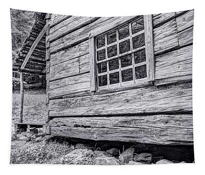 Black And White Cabin In The Forest Tapestry