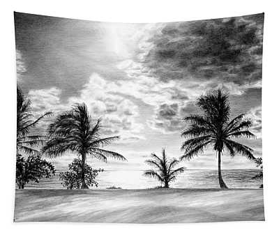 Black And White Caribbean Sunset Tapestry