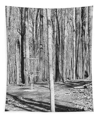 Black And White Disc Golf Basket Tapestry