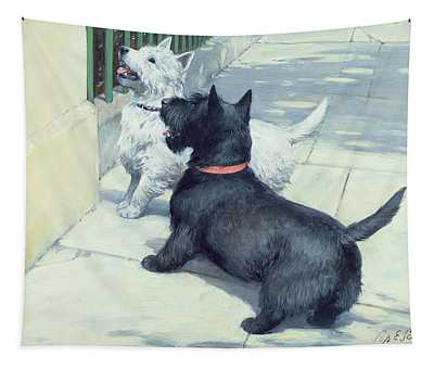 Black And White Dogs Tapestry
