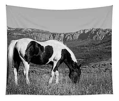 Black And White Horse Grazing In Wyoming In Black And White  Tapestry