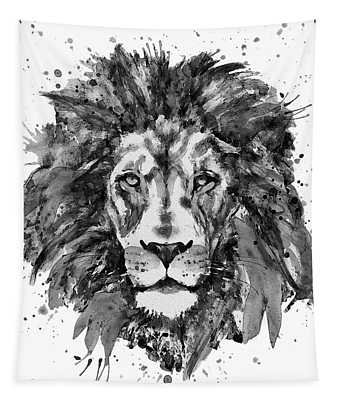 Black And White Lion Head  Tapestry