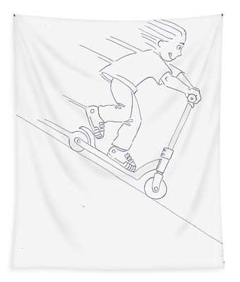 Black And White Micro Scooter Downhill Drawing Tapestry