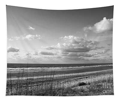 Black And White Ocean Scene Tapestry