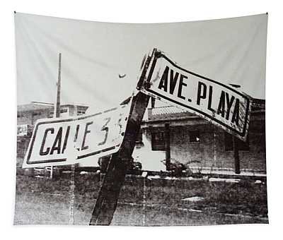 Black And White Street Sign Tapestry