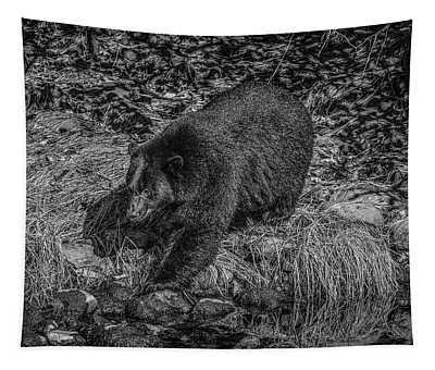 Black Bear Salmon Seeker Tapestry
