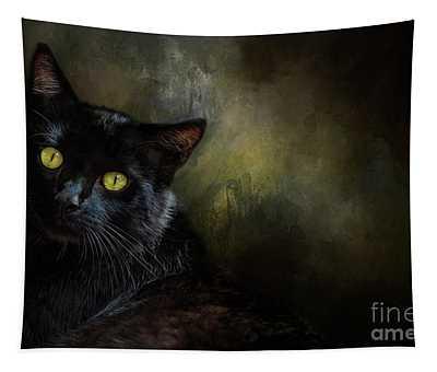 Black Cat Portrait Tapestry