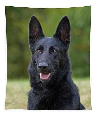 Black German Shepherd Dog Tapestry
