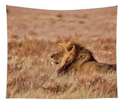 Black-maned Lion Of The Kalahari Waiting Tapestry