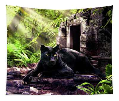 Black Panther Custodian Of Ancient Temple Ruins  Tapestry