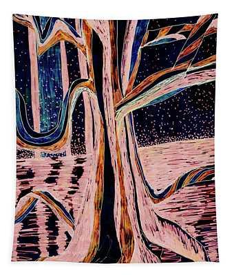 Black-peach Moonlight River Tree Tapestry