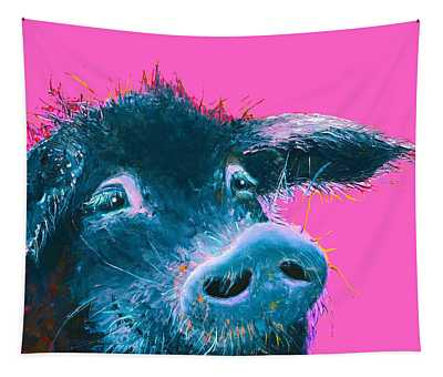 Black Pig Painting On Pink Background Tapestry