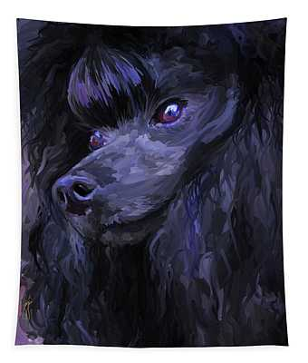 Black Poodle - Square Tapestry