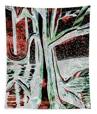 Black-red Moonlight River Tree Tapestry