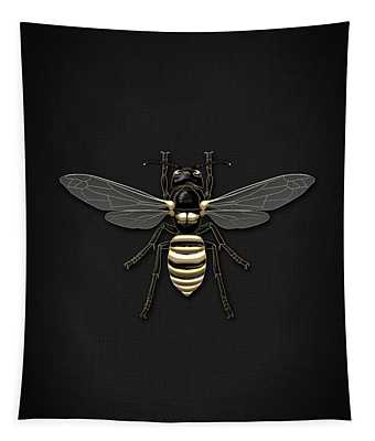 Black Wasp With Gold Accents On Black  Tapestry