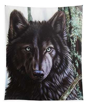 Black Wolf Tapestry