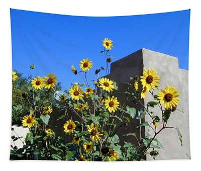 Tapestry featuring the photograph Blackeyed Susans And Adobe by Joseph R Luciano