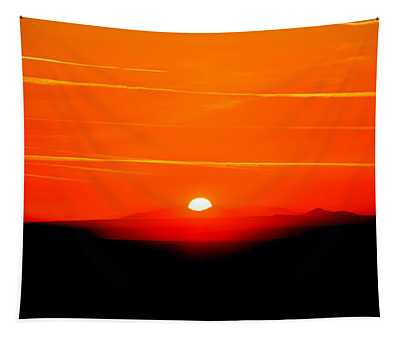 Blood Red Sunset Tapestry