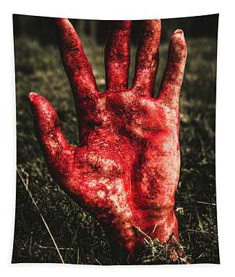 Blood Stained Hand Coming Out Of The Ground At Night Tapestry