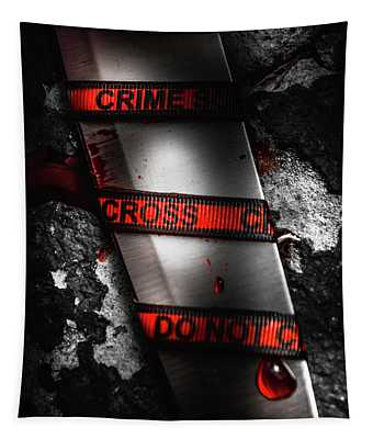 Bloody Knife Wrapped In Red Crime Scene Ribbon Tapestry