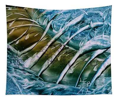 Blue Abstract Dark Ribbon Centre Tapestry