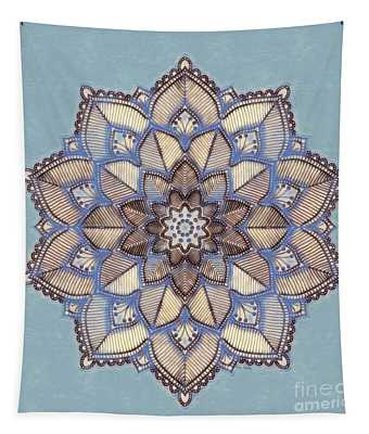Blue And White Mandala Tapestry