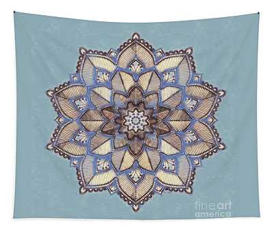 Blue And White Mandala Tapestry
