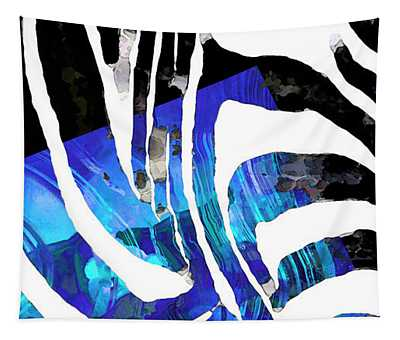 Blue And Black Abstract Art - Sharon Cummings Tapestry