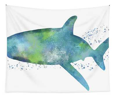 Blue And Green Watercolor Shark 1-art By Linda Woods Tapestry