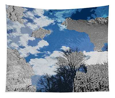 Blue And Metallic Sky Artwork Tapestry