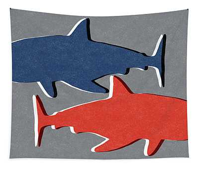 Blue And Red Sharks Tapestry