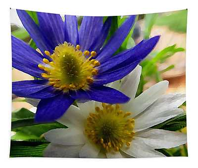 Tapestry featuring the digital art Blue And White Anemones by Shelli Fitzpatrick