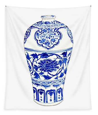 Blue And White Ginger Jar Chinoiserie 3 Tapestry