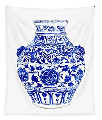 Blue And White Ginger Jar Chinoiserie 4 Tapestry