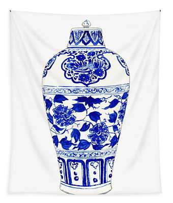 Blue And White Ginger Jar Chinoiserie Jar 1 Tapestry