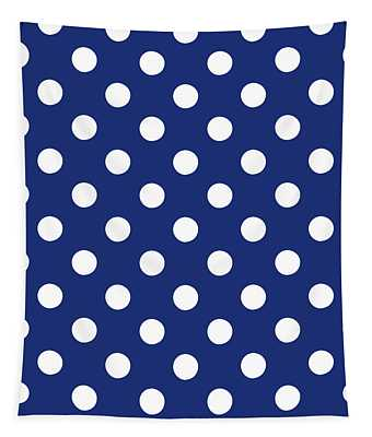 Blue And White Polka Dots- Art By Linda Woods Tapestry