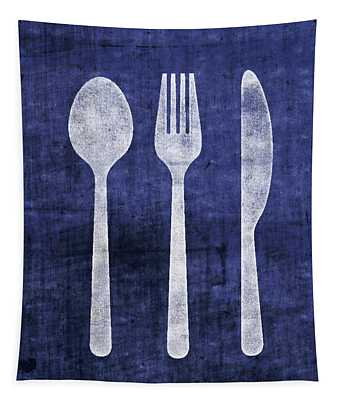 Blue And White Utensils- Art By Linda Woods Tapestry