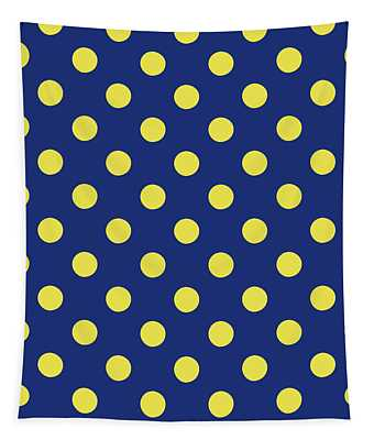 Blue And Yellow Polka Dots- Art By Linda Woods Tapestry