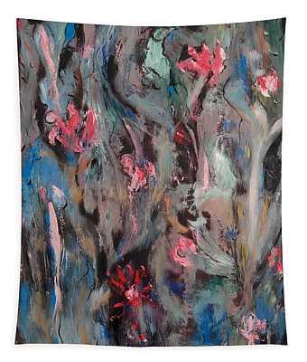 Blue Bird In Flower Garden Tapestry
