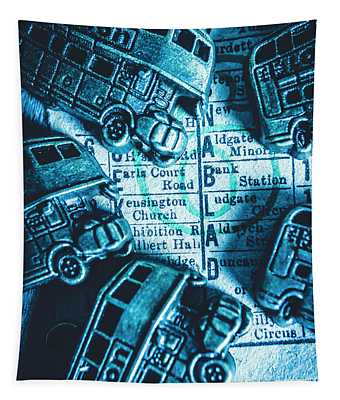 Blue Britain Bus Bill Tapestry