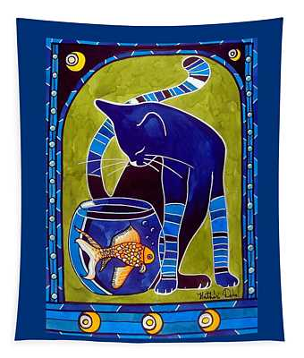 Blue Cat With Goldfish Tapestry