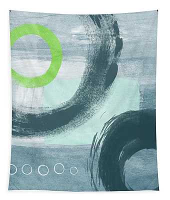 Blue Circles 1- Art By Linda Woods Tapestry